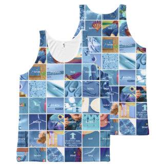 Camiseta De Tirantes Con Estampado Integral Azul