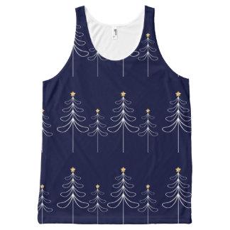 Camiseta De Tirantes Con Estampado Integral Azul minimalista elegante del diseño del árbol de