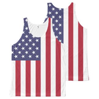 Camiseta De Tirantes Con Estampado Integral Bandera nacional de los Estados Unidos de América