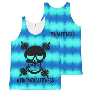 Camiseta De Tirantes Con Estampado Integral Barbell azul del cráneo de Finomenal