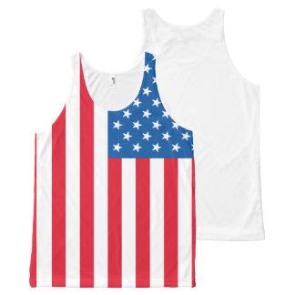 Camiseta De Tirantes Con Estampado Integral Barras y estrellas de la bandera de los E.E.U.U.
