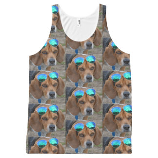 Camiseta De Tirantes Con Estampado Integral Beagle fresco divertido con las gafas de sol en la