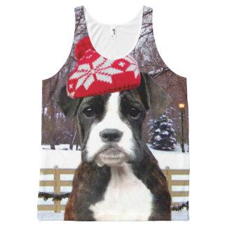 Camiseta De Tirantes Con Estampado Integral Camisa del perrito del boxeador del navidad