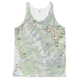 Camiseta De Tirantes Con Estampado Integral Camisa unisex del mapa de la montaña rocosa