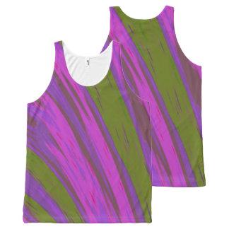 Camiseta De Tirantes Con Estampado Integral Chasquido púrpura del color verde
