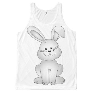 Camiseta De Tirantes Con Estampado Integral Clipart blanco del conejito