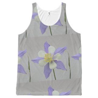 Camiseta De Tirantes Con Estampado Integral Columbine púrpura y blanco