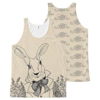 Camiseta De Tirantes Con Estampado Integral Conejo blanco de las aventuras de Alicia en el
