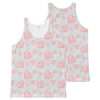 Camiseta De Tirantes Con Estampado Integral Corazón rosado