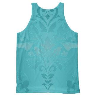 Camiseta De Tirantes Con Estampado Integral Damasco del Grunge de la turquesa