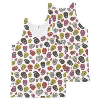 Camiseta De Tirantes Con Estampado Integral Día colorido del cráneo del azúcar de la impresión