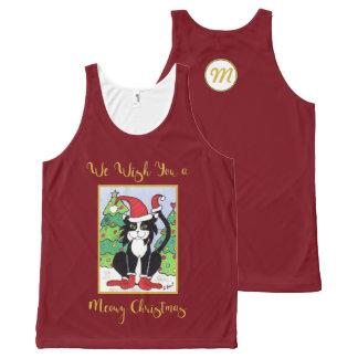 Camiseta De Tirantes Con Estampado Integral Día de fiesta lindo del monograma del gato del