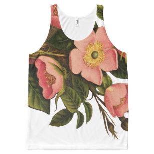 0c7b969a5 Camiseta De Tirantes Con Estampado Integral Dibujo color de rosa antiguo  del arte del vintage