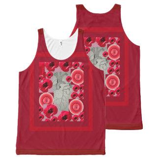 Camiseta De Tirantes Con Estampado Integral Diseño de Corazon del dibujo de Beth Vallory