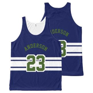 Camiseta De Tirantes Con Estampado Integral Diseño del deporte - nombre, equipo, número, color