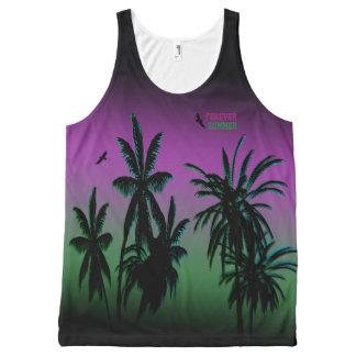 Camiseta De Tirantes Con Estampado Integral El cielo púrpura de Borealis de la aurora del