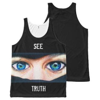 Camiseta De Tirantes Con Estampado Integral El corazón ata unisex sin mangas