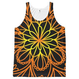 Camiseta De Tirantes Con Estampado Integral El tanque floral anaranjado psicodélico de las