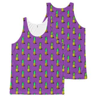 Camiseta De Tirantes Con Estampado Integral El tanque púrpura del frenesí de la piña