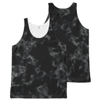 Camiseta De Tirantes Con Estampado Integral Estilo de mármol elegante - negro