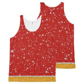 Camiseta De Tirantes Con Estampado Integral Estrellas del purpurina - rojo de plata