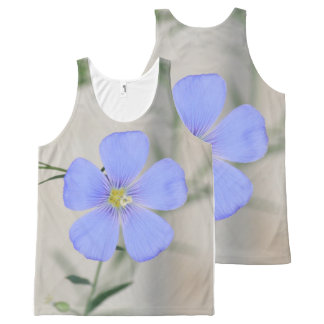 Camiseta De Tirantes Con Estampado Integral Flor azul bonita