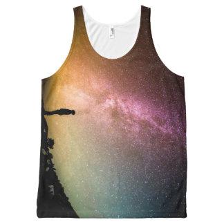 Camiseta De Tirantes Con Estampado Integral Galaxia chispeante del arco iris de las estrellas