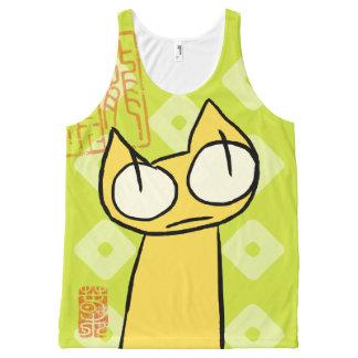 Camiseta De Tirantes Con Estampado Integral Gatos amarillos el mirar fijamente