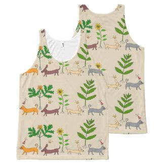 Camiseta De Tirantes Con Estampado Integral Gatos caprichosos de los perros y top unisex de