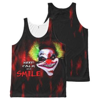 Camiseta De Tirantes Con Estampado Integral guarde la calma y sonría - payaso espeluznante del