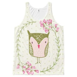 Camiseta De Tirantes Con Estampado Integral Guirnalda floral y corazones del búho lindo