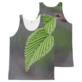 Camiseta De Tirantes Con Estampado Integral Hoja verde