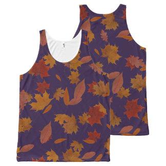 Camiseta De Tirantes Con Estampado Integral Hojas que caen del otoño en azul de encargo