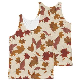 Camiseta De Tirantes Con Estampado Integral Hojas que caen del otoño en la crema de encargo