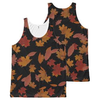 Camiseta De Tirantes Con Estampado Integral Hojas que caen del otoño en negro de encargo