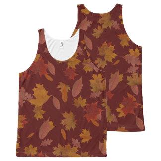 Camiseta De Tirantes Con Estampado Integral Hojas que caen del otoño en rojo de vino de
