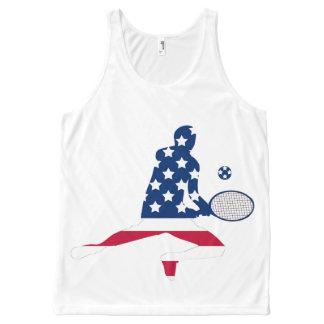 Camiseta De Tirantes Con Estampado Integral Jugador del americano del tenis de los E.E.U.U.