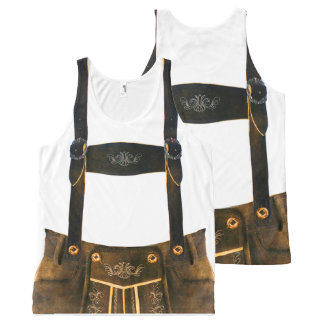 Camiseta De Tirantes Con Estampado Integral Lederhosen del alemán de Oktoberfest