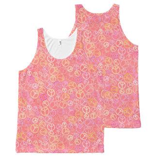 Camiseta De Tirantes Con Estampado Integral Los signos de la paz modelan en rosa