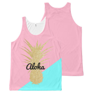 Camiseta De Tirantes Con Estampado Integral menta elegante del rosa de la piña del brillo del