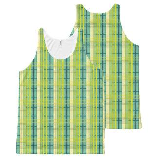 Camiseta De Tirantes Con Estampado Integral modelo azul, verde y amarillo de la tela escocesa