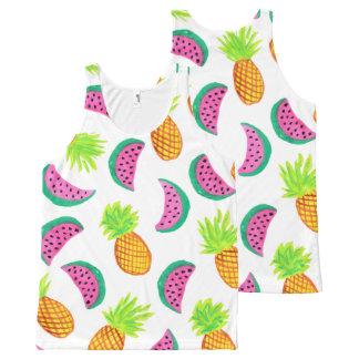 Camiseta De Tirantes Con Estampado Integral modelo colorido de la sandía de la piña de la