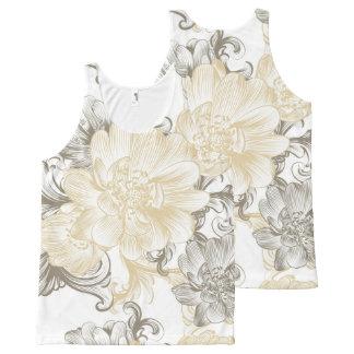 Camiseta De Tirantes Con Estampado Integral Modelo floral beige de las vides del Victorian del