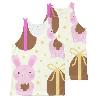 Camiseta De Tirantes Con Estampado Integral Modelo lindo de los conejitos de pascua y de los