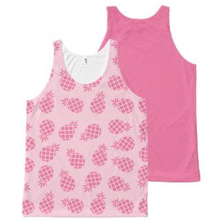 Camiseta De Tirantes Con Estampado Integral Modelo lindo femenino de la piña del rosa en