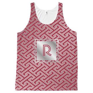 Camiseta De Tirantes Con Estampado Integral Modelo que entrelaza de plata del rojo de vino del