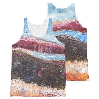 Camiseta De Tirantes Con Estampado Integral Mountainscape abstracto
