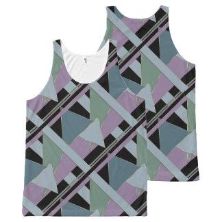 Camiseta De Tirantes Con Estampado Integral Musgo de acero WhimsicalArtwork™ geométrico del
