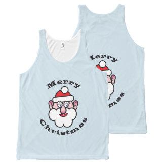 Camiseta De Tirantes Con Estampado Integral Navidad Papá Noel, Felices Navidad 3,3