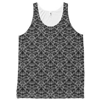 Camiseta De Tirantes Con Estampado Integral Negro del modelo del damasco del Flourish en gris